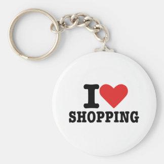 I love shopping basic round button keychain