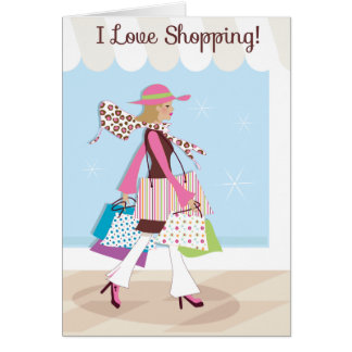 I Love Shopping Blank Notecard