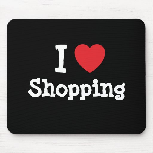 I love Shopping heart custom personalized Mouse Pad