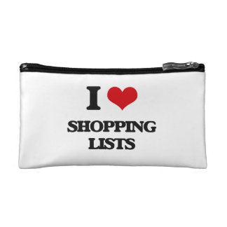 I Love Shopping Lists Cosmetic Bags
