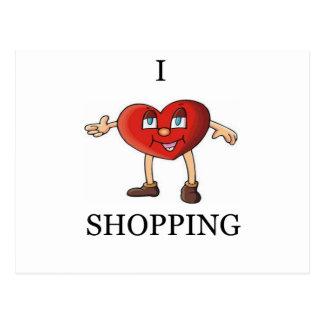 i love shopping postcard