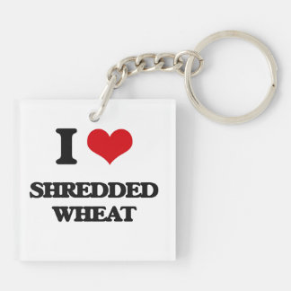 I Love Shredded Wheat Square Acrylic Keychains