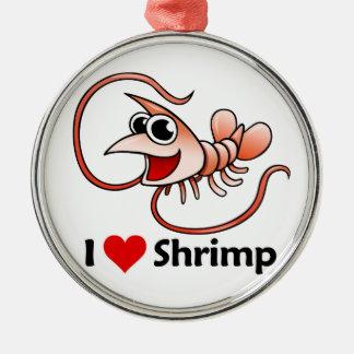 I Love Shrimp Metal Ornament