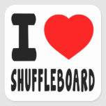 I Love Shuffleboard Square Stickers