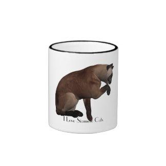 I Love Siamese Cats Coffee Mugs
