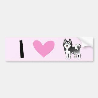 I Love Siberian Huskies / Alaskan Malamutes Bumper Sticker