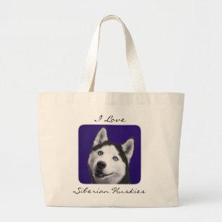 I Love Siberian Huskies Jumbo Canvas Totebag Large Tote Bag