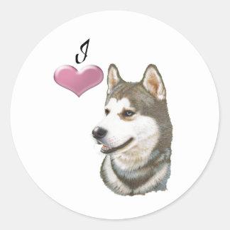 I love Siberian Husky Dog art design Classic Round Sticker