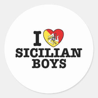 I Love Sicilian Boys Classic Round Sticker