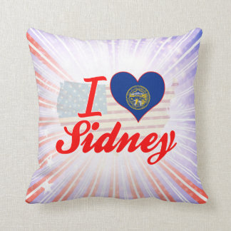 I Love Sidney, Nebraska Throw Pillows