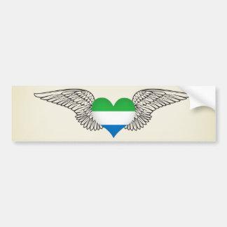 I Love Sierra Leone -wings Car Bumper Sticker