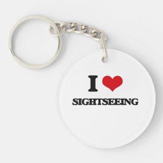 I Love Sightseeing Single-Sided Round Acrylic Keychain