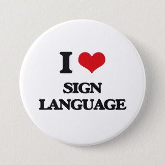 I Love Sign Language Pinback Button