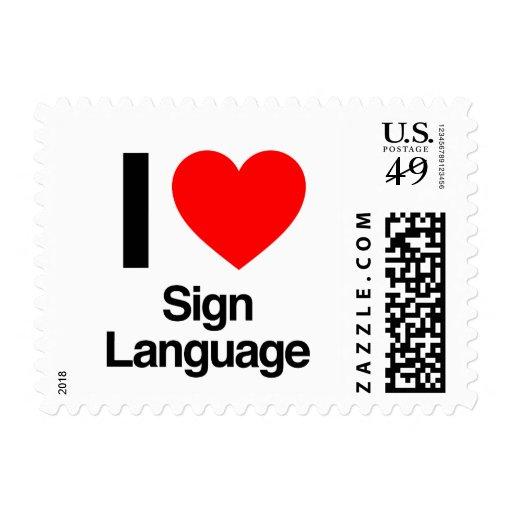 i love sign language postage stamp
