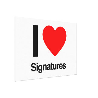 i love signatures stretched canvas prints
