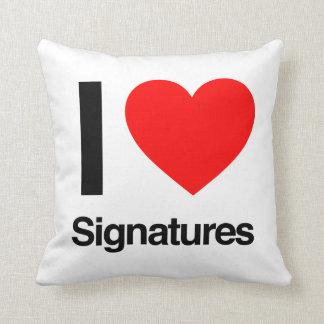 i love signatures pillow
