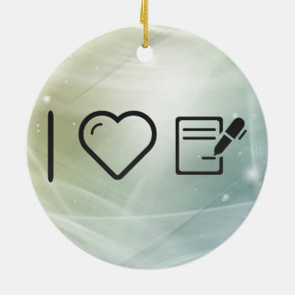 I Love Signing Contracts Double-Sided Ceramic Round Christmas Ornament