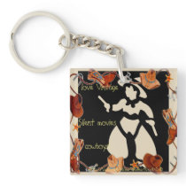 """I love silent movie cowboys!"" Keychain"