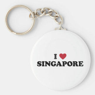 I Love Singapore Basic Round Button Keychain