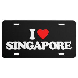 I LOVE SINGAPORE LICENSE PLATE
