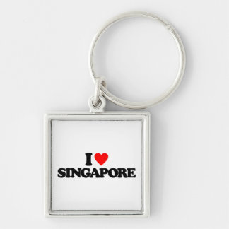 I LOVE SINGAPORE Silver-Colored SQUARE KEYCHAIN