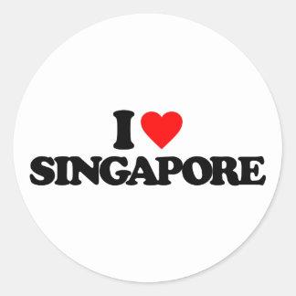 I LOVE SINGAPORE ROUND STICKER