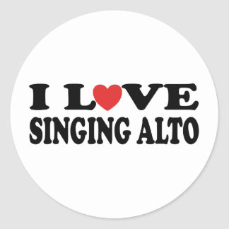 I Love Singing Alto Music Gift Classic Round Sticker