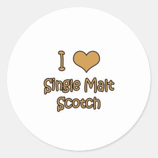 I Love Single Malt Scotch Classic Round Sticker