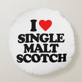 I LOVE SINGLE MALT SCOTCH ROUND PILLOW