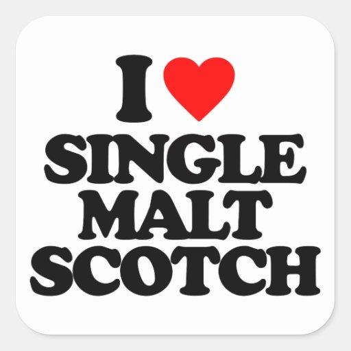 I LOVE SINGLE MALT SCOTCH SQUARE STICKERS