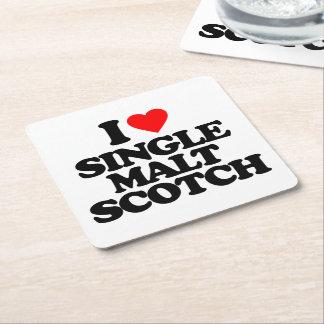 I LOVE SINGLE MALT SCOTCH SQUARE PAPER COASTER