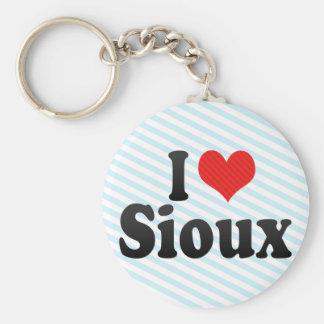 I Love Sioux Basic Round Button Keychain