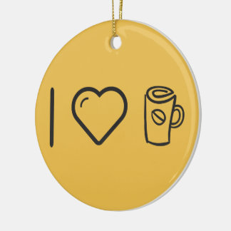 I Love Sipping Coffee Double-Sided Ceramic Round Christmas Ornament