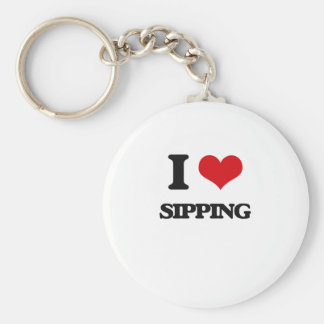 I Love Sipping Basic Round Button Keychain