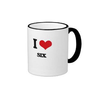 I Love Six Ringer Coffee Mug