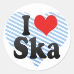 I Love Ska Round Stickers