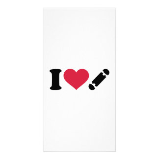 I love Skateboard Personalized Photo Card