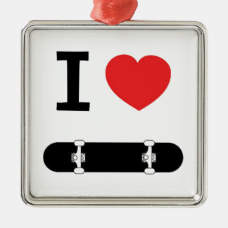 I love skateboarding metal ornament