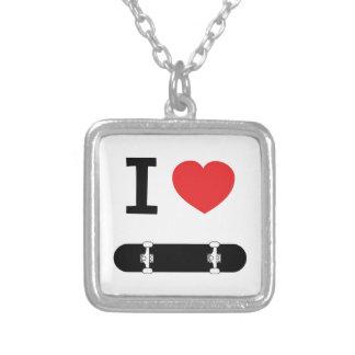 I love skateboarding silver plated necklace
