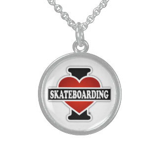 I Love Skateboarding Sterling Silver Necklace