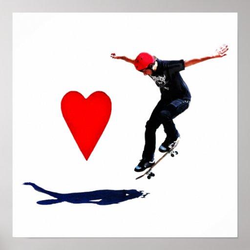 I love Skateboarding Vector Poster