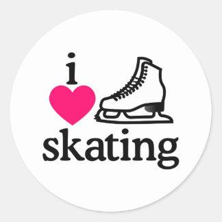 I Love Skating Classic Round Sticker