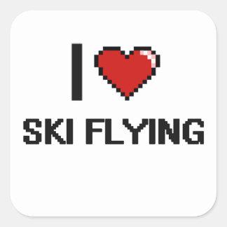 I Love Ski Flying Digital Retro Design Square Sticker