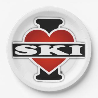 I Love Ski Paper Plate
