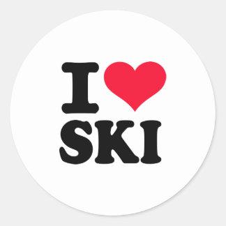 I love Ski Classic Round Sticker