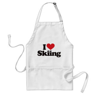 I Love Skiing Adult Apron