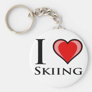 I Love Skiing Basic Round Button Keychain