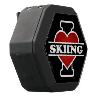 I Love Skiing Black Bluetooth Speaker