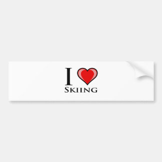 I Love Skiing Bumper Sticker