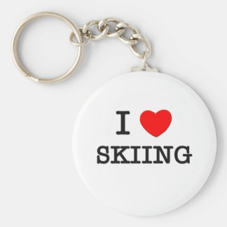 I Love Skiing Key Chain
